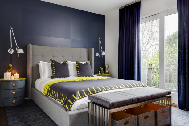 achieve the masculine look by combining blue walls with yellow accents and hints of gray