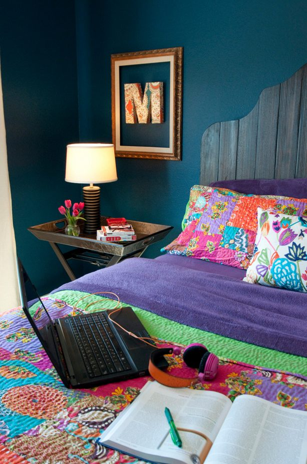 design an eclectic bedroom with teal walls and iris bedding