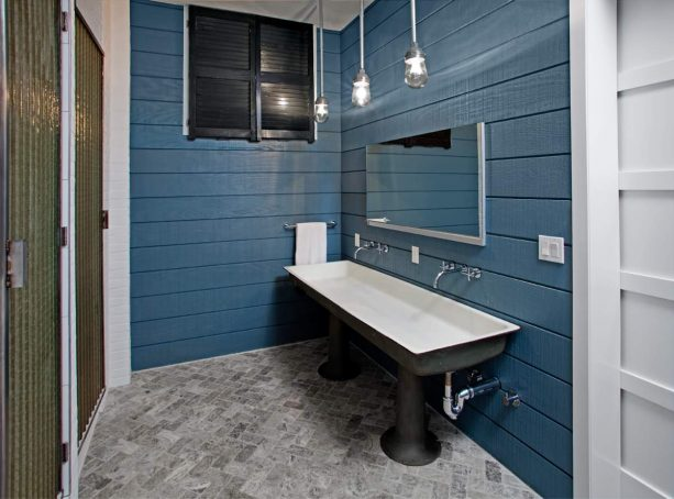 even reclaimed items can make a beautiful blue and gray bathroom