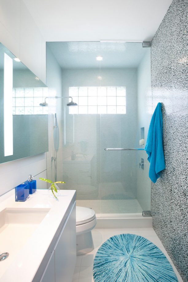gray and a mix of cobalt and cerulean suit a bright bathroom perfectly