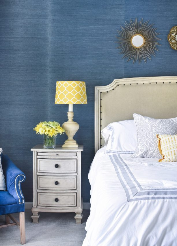 make a big statement with navy grasscloth and yellow accents
