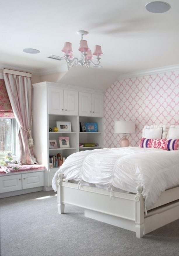 pink chandelier covers and white furniture make a pretty transitional bedroom